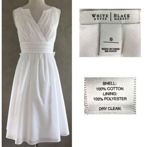 WHBM White Cotton Sleeveless Ruched Tie Back Dress